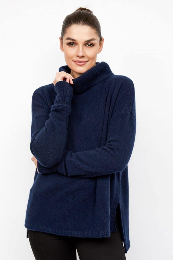 female model wearing blue cashmere jumper by rachel mackay