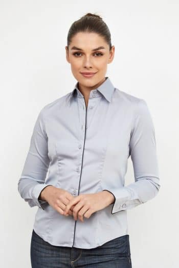 Grey Caliban fitted shirt with fine edge detail such a the black piping