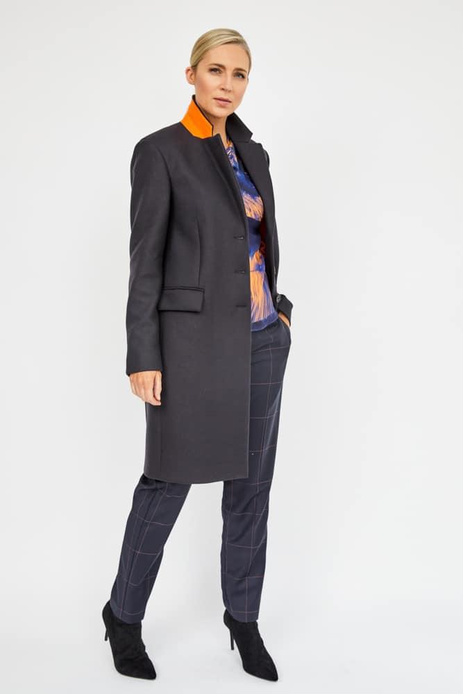 epsom coat with burnt orange under collar