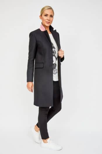 Paul Smith coat, black epsom with pink under collar