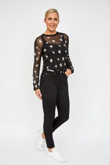 fine knit sweater with monochrome star detail