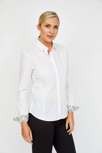 Fitted white shirt with bunny print cuff detail. online at khan