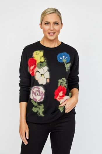 black knitwear Paul Smith sweater with floral design