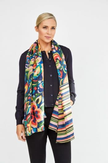 paul smith scarf with floral and stripes